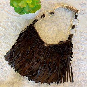 YSL Mombasa horn bag brown suede fringe